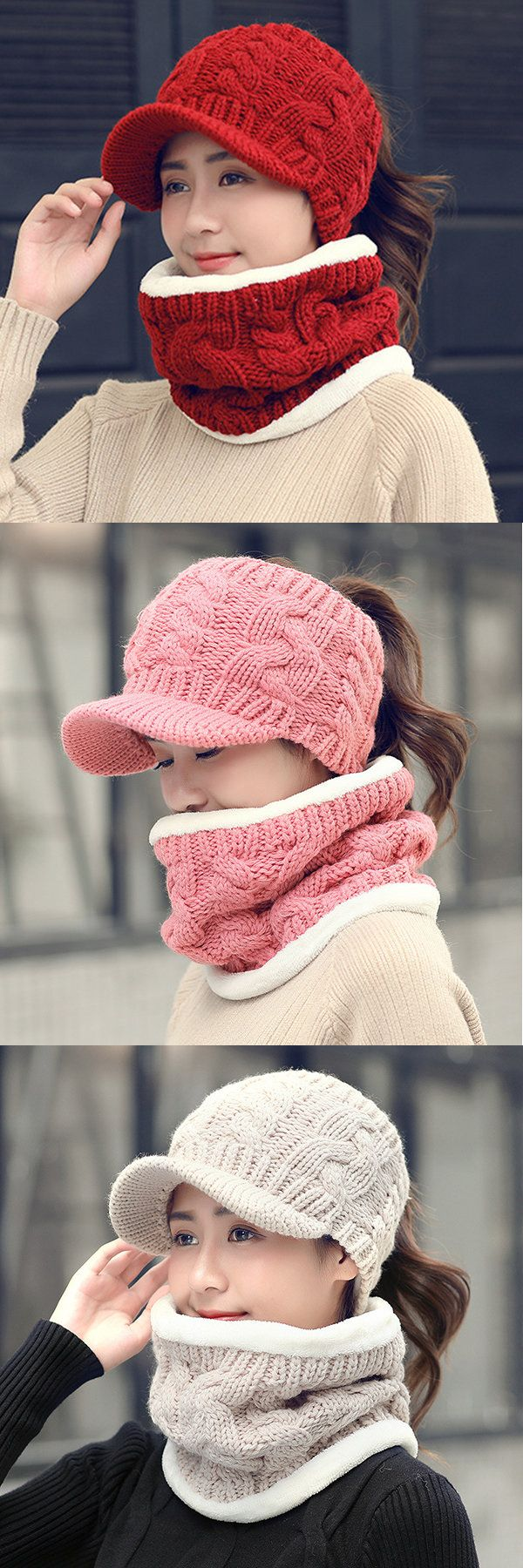 Women Winter Warmer Baseball Cap And Neck Collar Scarves Set Windproof Solid Flexible Hat Scarf