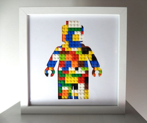 This is my amazing Lego Man 3D Lego art. A Lego Man silhouette filled with real Lego blocks in a 3D frame.  Great gift for both adults and children