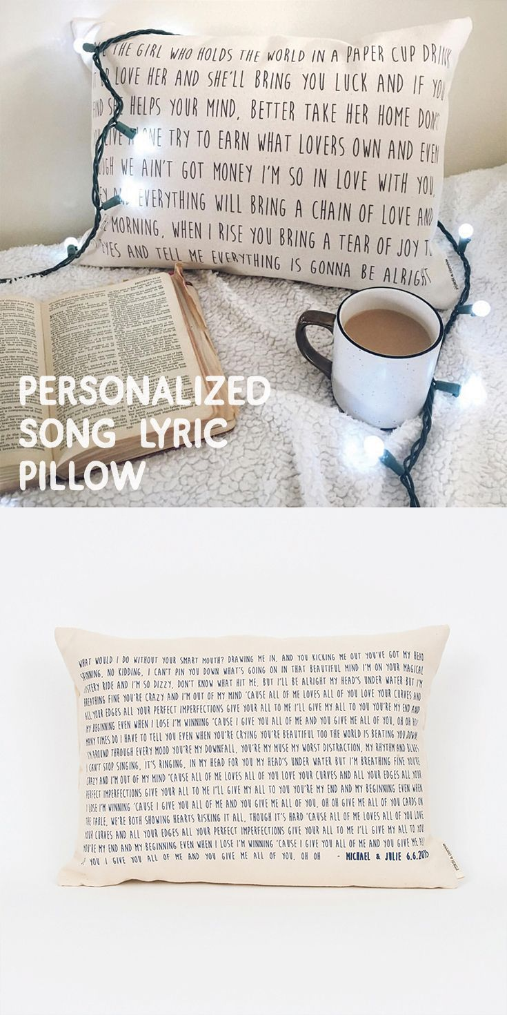 Want to create a pillow with the lyrics to your favorite song? This makes the best 2nd anniversary cotton gift! $36