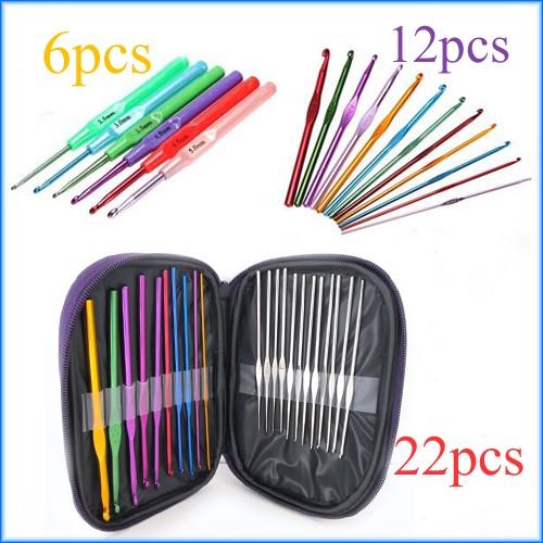 Aluminum Plastic Handle Crochet Hook Knitting Needle Set Weave Yarn 6/12/22pcs | eBay