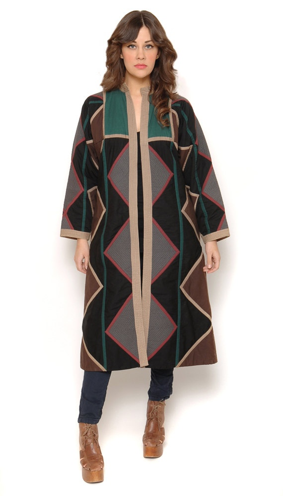 70s Blanket Coat Quilted Geometric Navajo Jacket Batwing Sleeves Long Length Southwestern Duster Boho 1970s Outerwear / OS One Size. via Etsy. #vegan