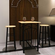 Dining Bar Table Wood & Steel Contemporary Breakfast Set Home Office Kitchen