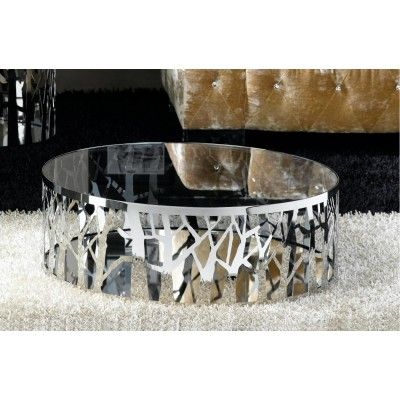 """Features      """"Winter"""" Coffee Table is made from a single piece of laser cut polished stainless steel with a mirrored glass base and fixed tempered glass top.     Contemporary & Manhattan Apartment Styles"""