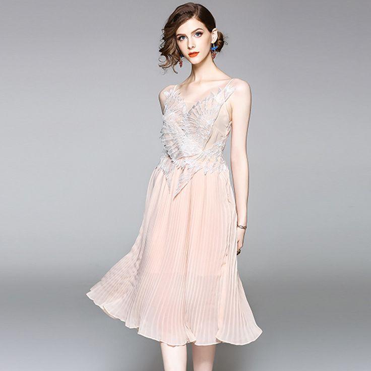 Elegant Pink Spaghetti Strap Dresses