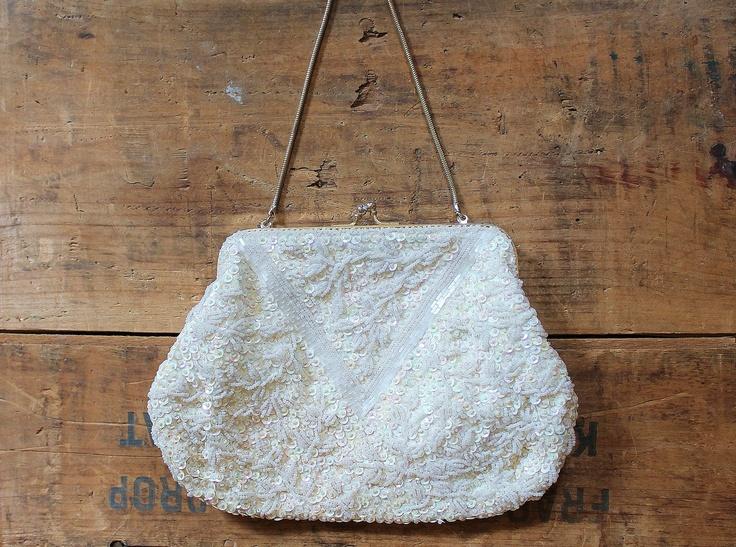 vintage bridal purse - 1960s purse - formal bag - beaded white bag. $58.00, via Etsy.