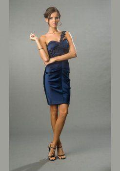 gaine attrayante une épaule court / mini robes de soirée courtes charmeuse