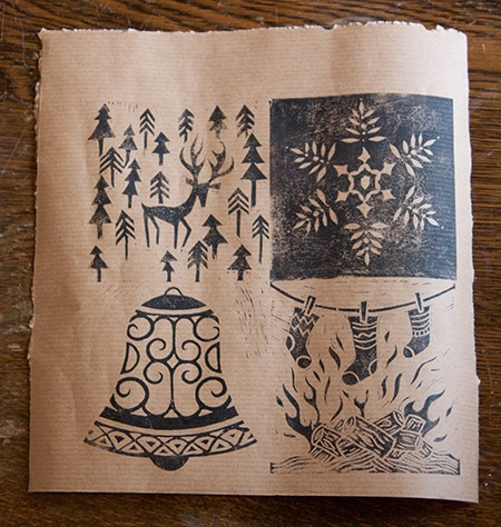 lino cut Christmas card designs