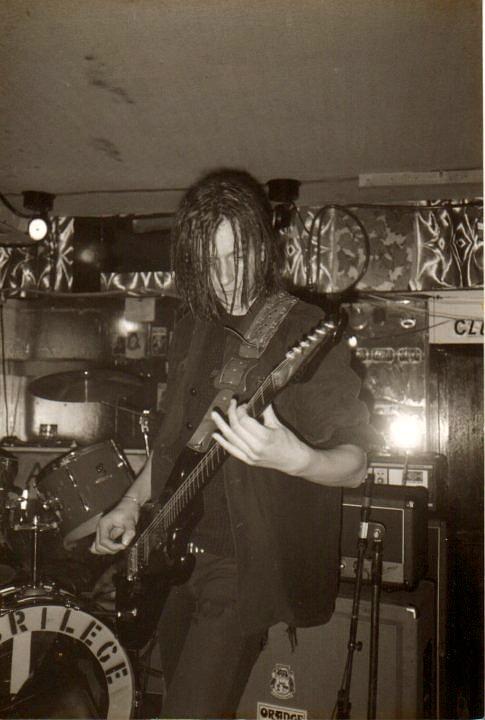 Justin Broadrick in Napalm Death.Leeds, October 1986.