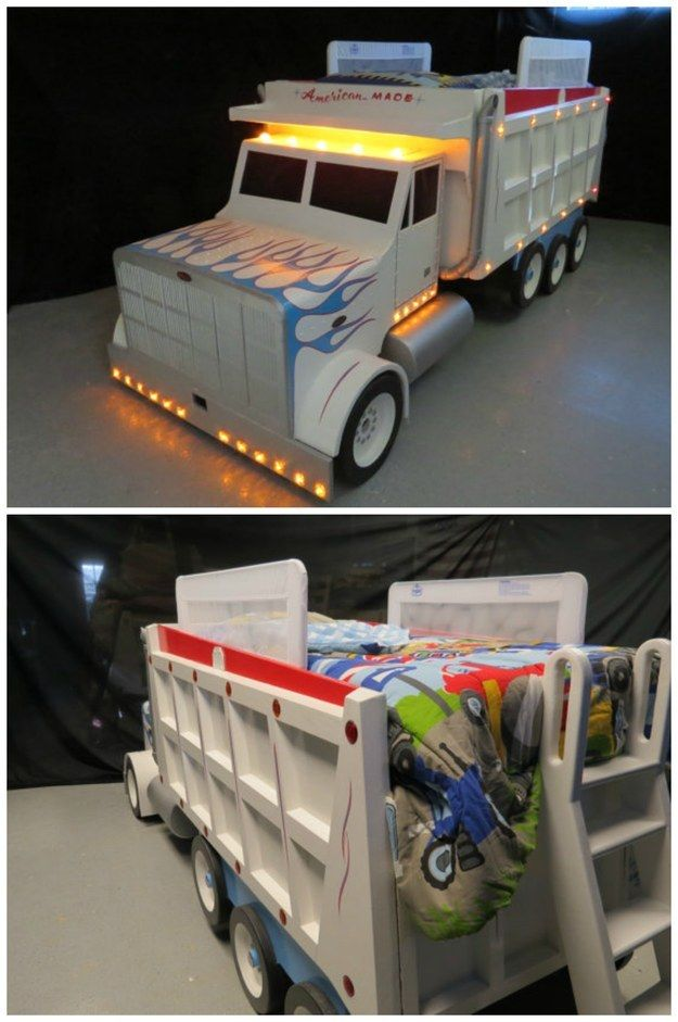 This dump truck bed that comes with 51 working marker lights. | 23 Beds That Will Make You Wish You Were A Kid Again