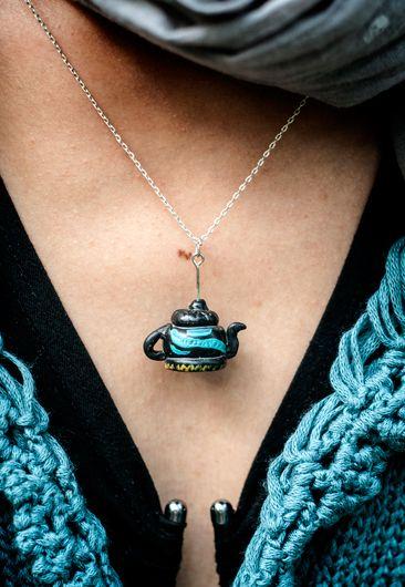 little black with blue teapot pendant