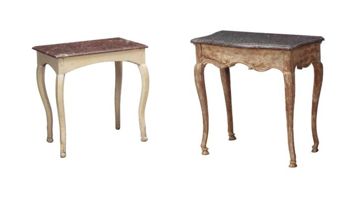 A PROVINCIAL LOUIS XV OAK MARBLE-TOP CONSOLE AND A FRENCH CREAM-PAINTED MARBLE-TOP SIDE TABLE, THE CONSOLE SECOND HALF 18TH CENTURY, THE SIDE TABLE POSSIBLY PARTS 18TH CENTURY