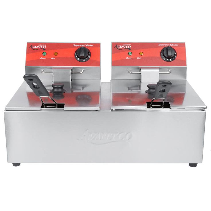 This Avantco F102 20 lb. dual tank countertop fryer is suitable for light duty applications such as delis, sandwich shops, and concession stands. With a 15-minute heat-up time, this fryer is ready to use in no time! Each removable tank has a capacity of 6 liters (1.5 gallons), and the unit uses 20 lb. of shortening. Additionally, each tank has its own temperature switch with a range of 120 to 370 degrees Fahrenheit. You don't even have to use both sides, since each fryer has its own cord....