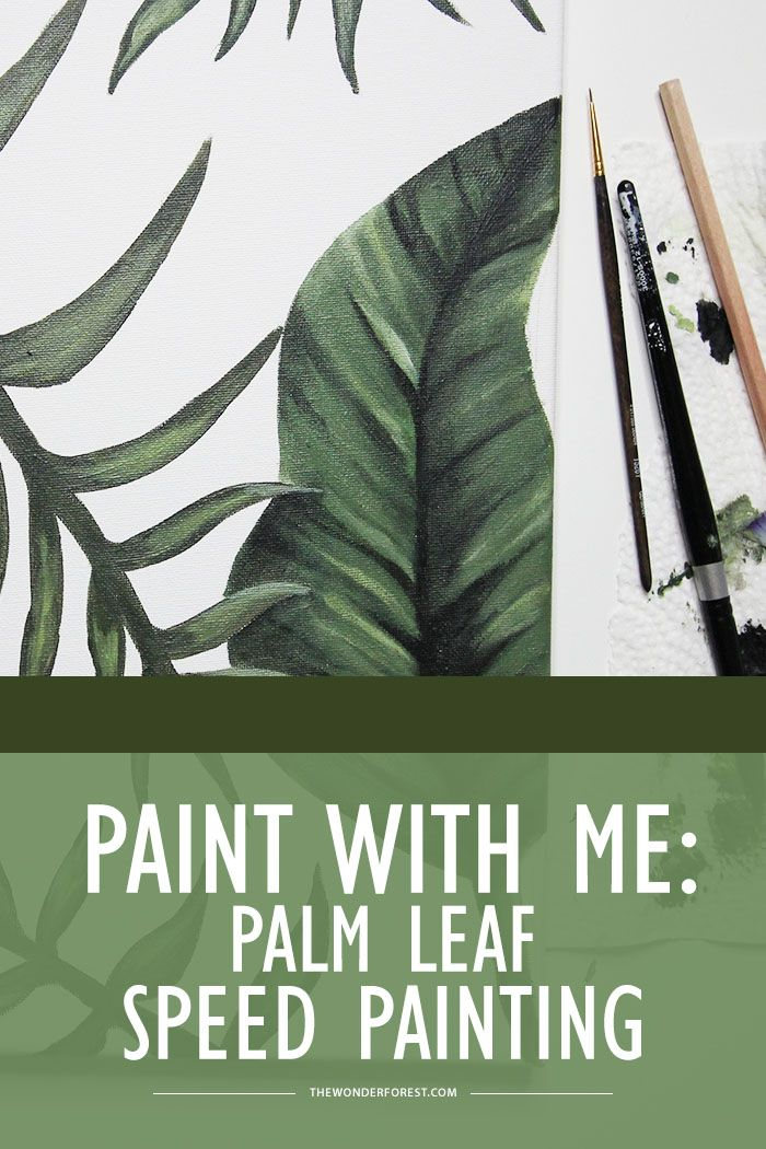 How To Paint Palm Leaves - Speed Painting in Acrylics | Art tutorial | Wonder Forest