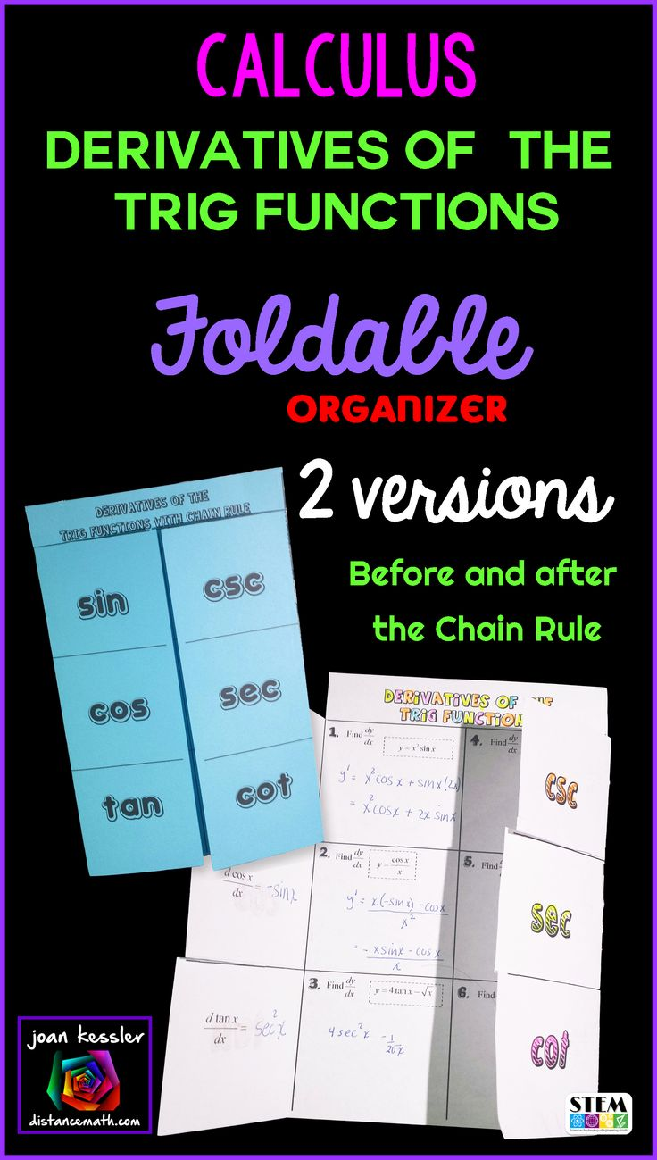 Just what your students need for this difficult section. This organizer is great for interactive notebooks or as a study aid. This resource is designed for all first semester Calculus students. Derivatives of Trig Functions is usually part of Unit 2, Derivatives.There are two versions of the foldable, Before and After the Chain Rule, both with fully typed solutions for you.