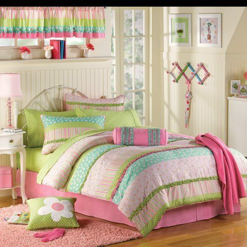pink green ruffled girls twin complete comforter set 10 piece bed in a bag home. Black Bedroom Furniture Sets. Home Design Ideas