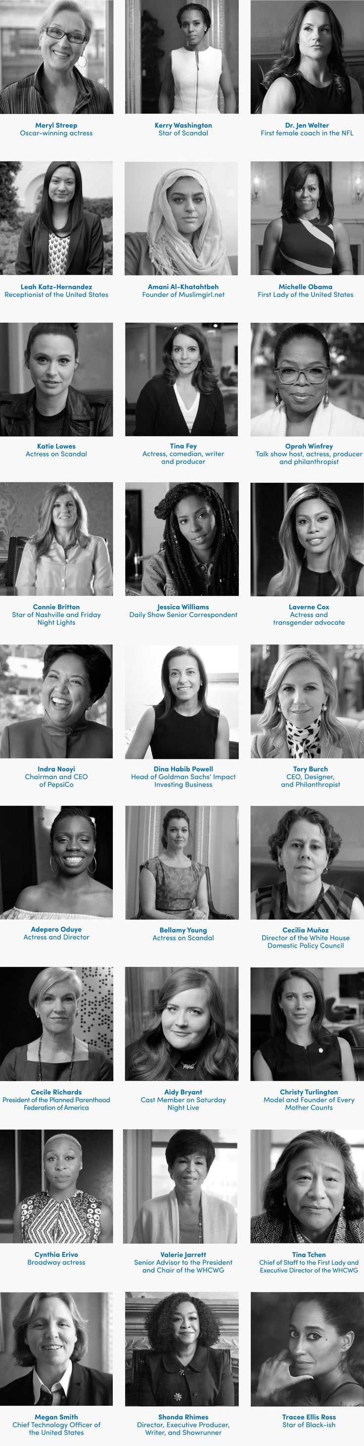 We are the United State of Women. And when we do better, everyone does better. You with us? Then listen up and join #StateofWomen. Who's Who This film is filled with incredible women (in order of appearance):