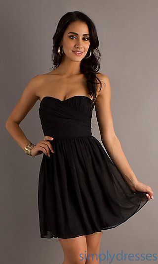 Short Strapless Black Dress at SimplyDresses.com
