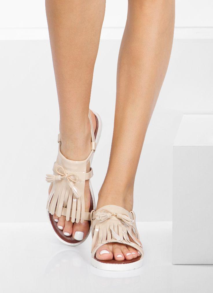 Sandały Fringe Beige Sandals / Sandały / Obuwie damskie - Modne buty, stylowe ubrania i obuwie damskie, sklep z butami i ubraniami, modne buty letnie i zimowe - DeeZee.pl