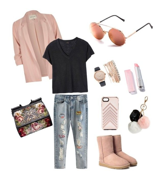Pink Style by lenshop-gr on Polyvore featuring Deby Debo, River Island, UGG, Dolce&Gabbana, Jessica Carlyle, Rebecca Minkoff, GUESS and sunglasses Sunday Somewhere Valentine 038 http://lenshop.eu/manufacturers/13403-sunday-somewhere/sunglasses