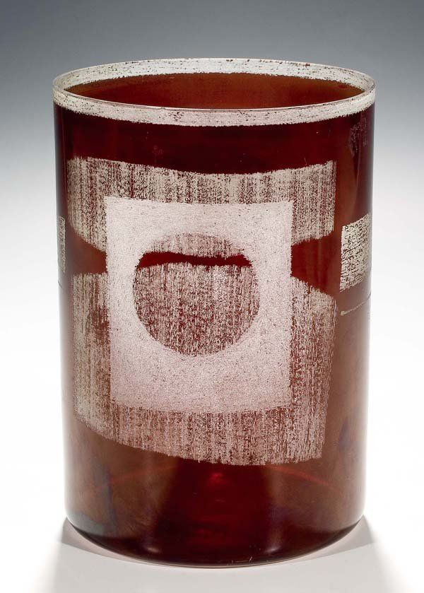 Bohumil Cabla, the cylindric vase of Bohumil Cabla (design and execution), 1958, clear glass with red stain and etching, H: 18,5 cm, Czechoslovakia