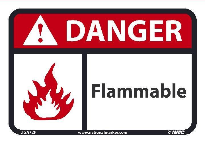 Flammable Ansi Iso Danger Header Signs Dga72 By National Marker