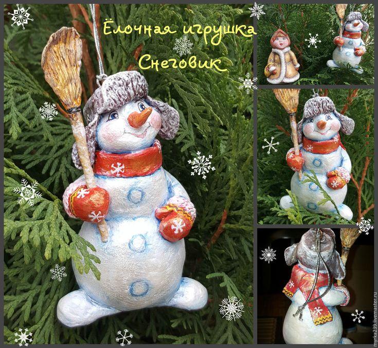 Купить игрушка елочная из папье-маше Снеговик - комбинированный, елочные игрушки, елочные украшения, бумага