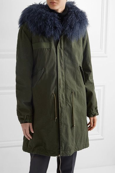 MR & MRS ITALY - Shearling-lined Cotton-canvas Parka - Army green - small