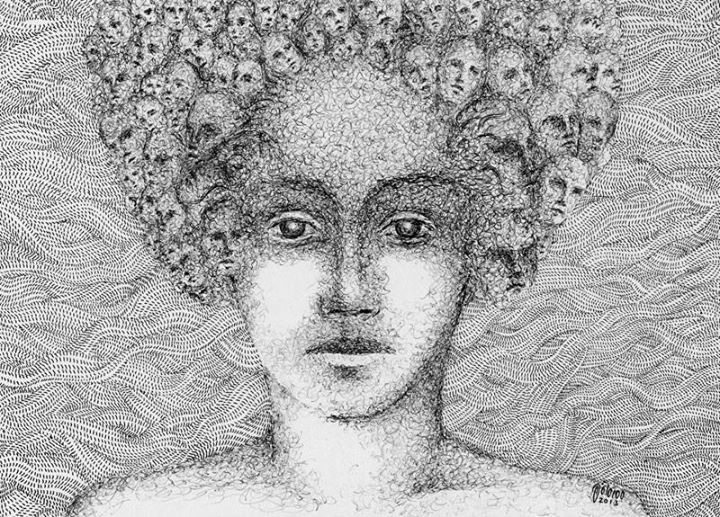 if your hair is not...   30x20cm   Ball pen & Rapid Pen on Cardboard on Paper By Mostafa Akbari © ▌2013 www.mostafaakbari.com