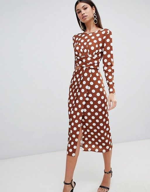 b4e09ce00718 DESIGN polka dot cut out side midi dress in 2019 | LOVE CLOTHES ...