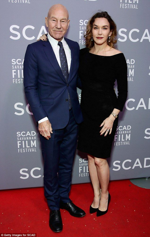 In the spotlight: Patrick Stewart, 77, and his wife Sunny Ozell, 38, put on a stylish display at the Savannah College of Art and Design Savannah Film Festival on Sunday