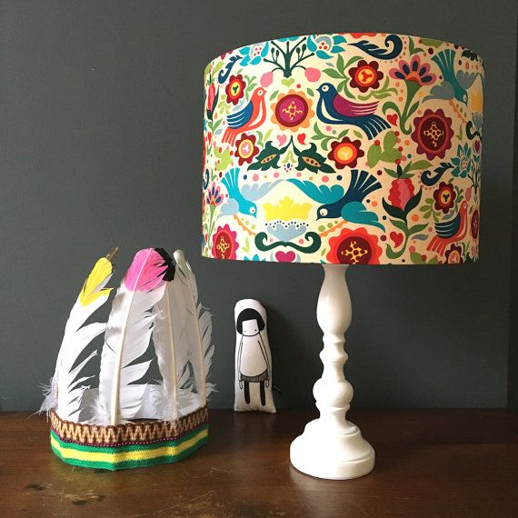 Folklore Swallows Handmade Lampshade
