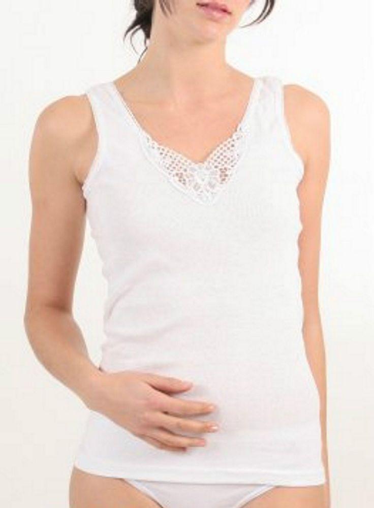 4 Damen Unterhemden mit Spitze 100% gekämmte Baumwolle Öko-Tex !