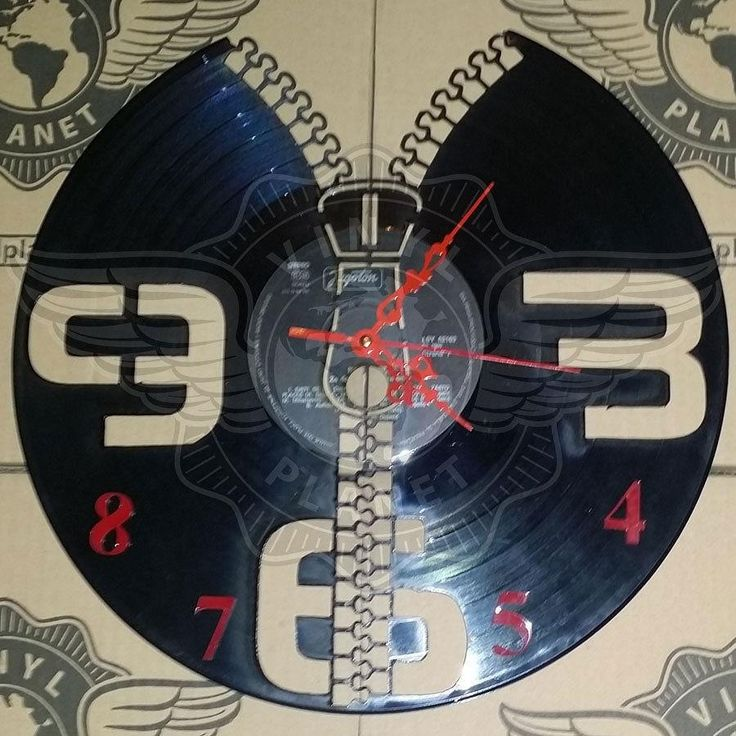 VINYL PLANET Wall Clock ZIP Home Record Unique Decor upcycled 12''