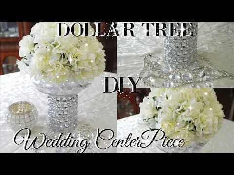 DIY DOLLAR TREE BLING FLORAL WEDDING CENTERPIECE 2017 | PETALISBLESS    YouTube