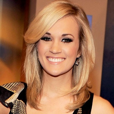 Carrie Underwood shoulder length hair dark with blonde ...