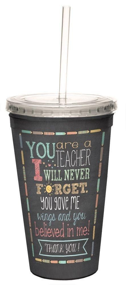 Teacher Thanks Double-Walled Cool Travel Cup with Reusable Straw, 16-Ounce - Teacher Appreciation Week Thank You Gift - Tree-Free Greetings 98218 #teacherappreciationgifts