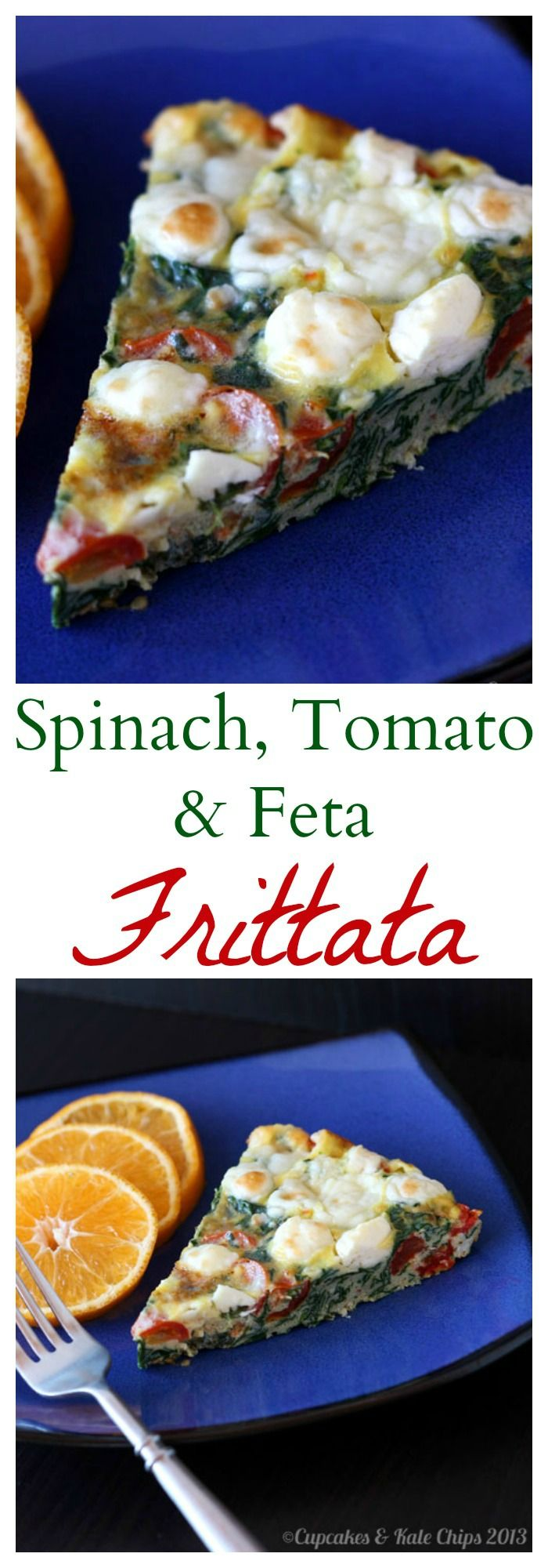 Spinach, Tomato & Feta Frittata is a simple meatless meal for breakfast, brunch, or breakfast for dinner (aka brinner) | cupcakesandkalechips.com | gluten free, vegetarian