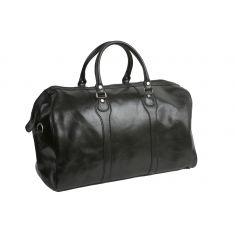 Beltrami black leather weekender bag