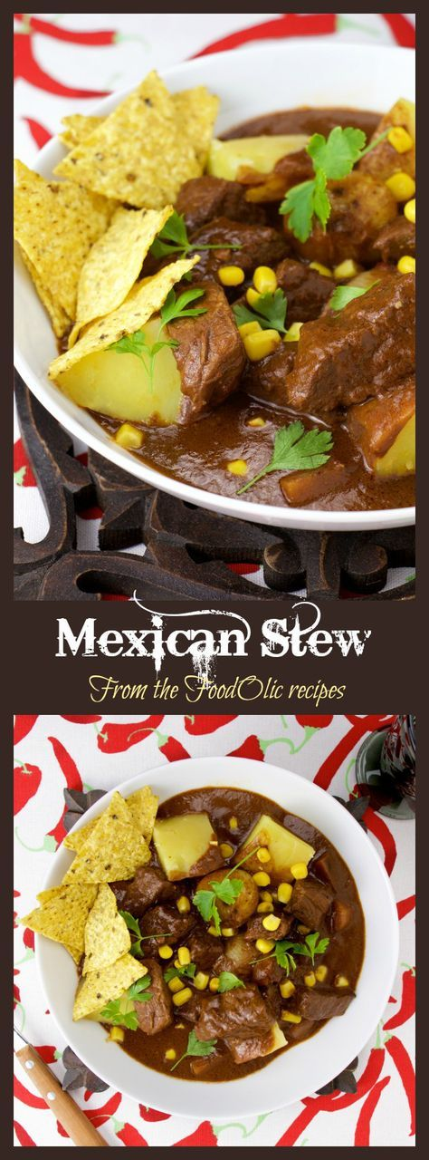 An unctuous and spicy Mexican stew made with a Mole style sauce. All the great Mexican flavors plus some extra veggies, served with tortilla chips, corn and parsley, for an extra Southern flair.