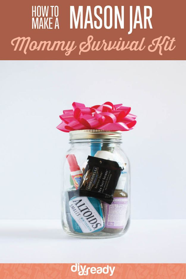 How to Make a Mason Jar Mommy Survival Kit by DIY Ready at diyready.com/mason-jar-mommy-survival-kit/