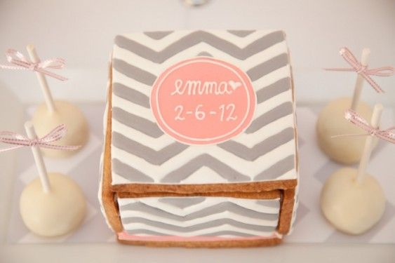 Pink & grey chevron dessert table