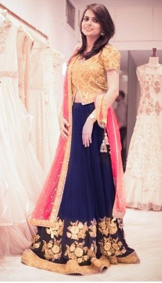 Navy Blue Bridal lehenga and saree | Navy Blue Theme and Decor | Wed Me Good