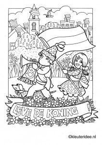 Kleurplaat koningsdag voor kleuters 4, kleuteridee.nl , The kigs day coloring.