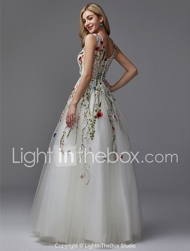 36e16349b51 A-Line V Neck Floor Length Lace   Tulle Formal Evening Dress with Beading    Embroidery by TS Couture® 2018 - AU  312.88