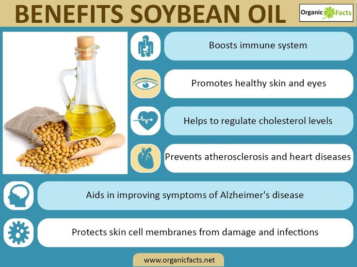 Some of the health benefits of soybean oil include its ability to manage your heart health, lower your cholesterol, improve your immune system, reduce cognitive disorders like Alzheimer's disease, prevent osteoporosis, and improves growth, while also boosting eye and skin health.
