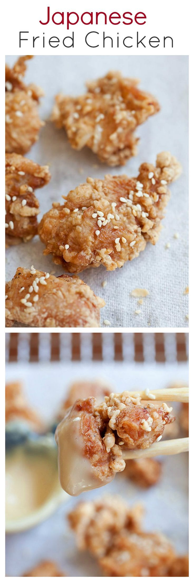 Crispy, juicy, and CRAZY DELICIOUS Japanese fried chicken recipe, with miso mayonnaise dip | http://rasamalaysia.com