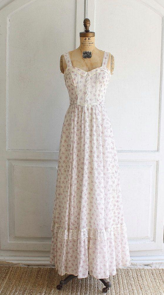 vintage 70s Gunne Sax floral maxi dress festival by bohemiennes,