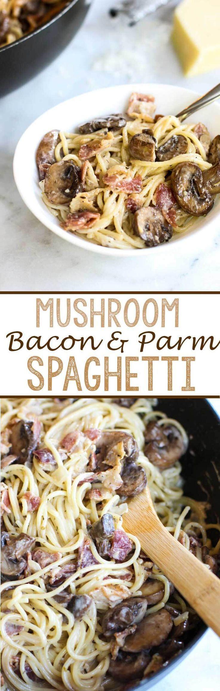 Mushroom, Bacon, and Parmesan Spaghetti - Eazy Peazy Mealz