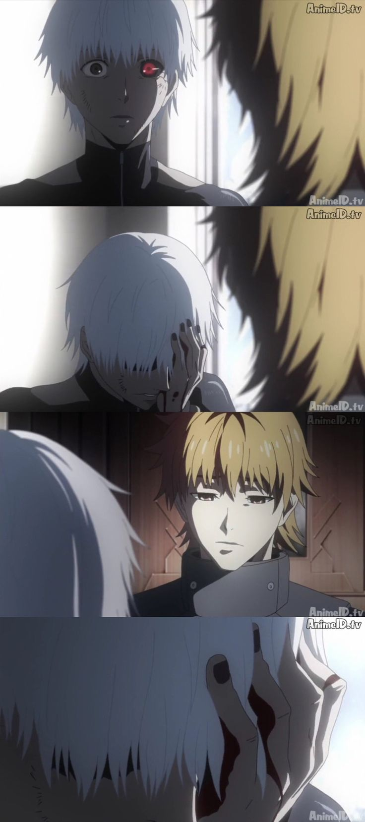 Tokyo Ghoul √A | nO BUT HE HIDES HIS GHOUL EYE AND I JUST REALIZED THE PUN THERE BUT THE FEELSSSSSSSSSSSSS AND THEN HIDE JUST SAYS HE KNEW AND I JUST AGHHHHHH * EMOTIONAL SCREAMING*