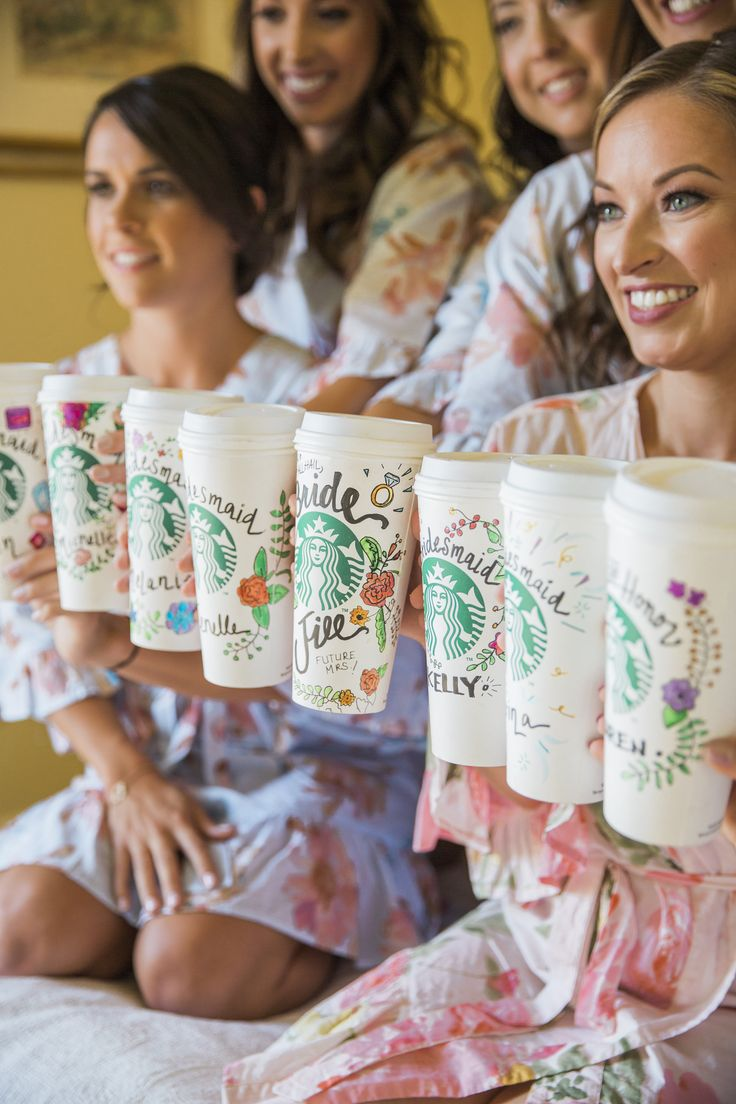 cute Starbucks drinks for the bridesmaids
